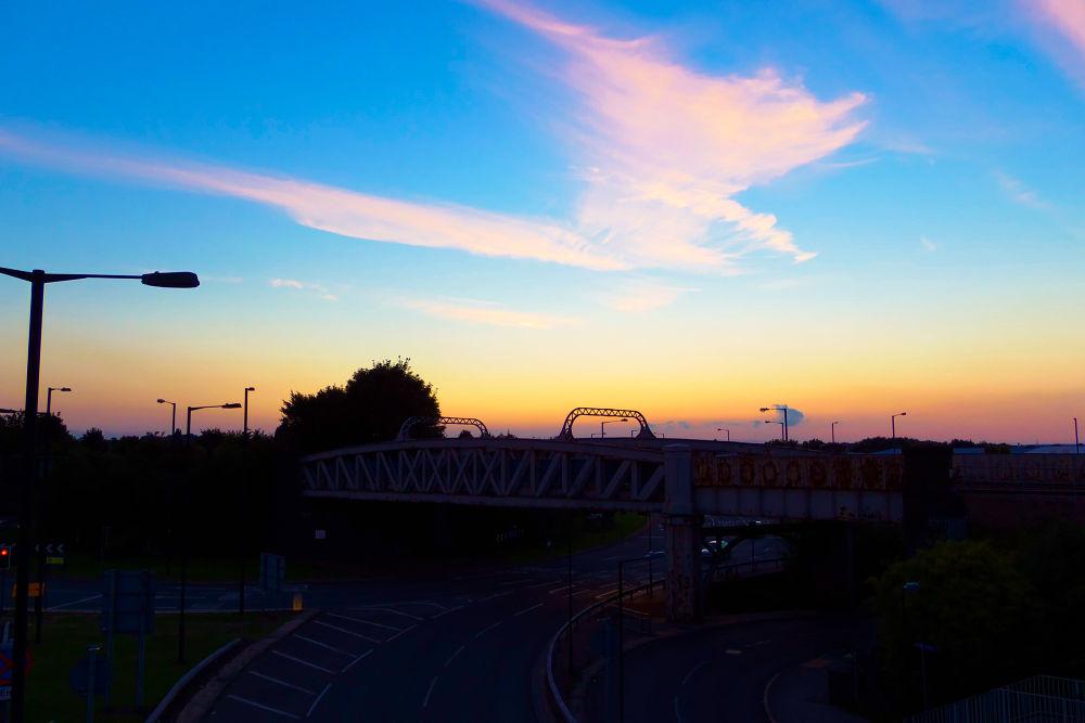 Rail Bridge, Sunset  by AWalker