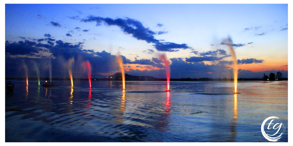 Coloured Fountains. Shot at Dal Lake, Srinagar, India by Tariq Guroo
