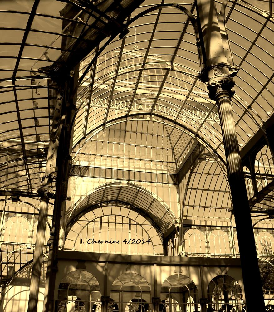 Photo in Architecture #madrid #spain #architecture #street photography #sepia #park #crystal palace #travel