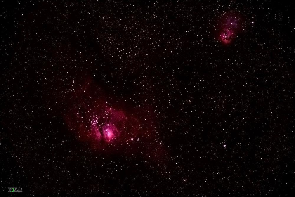 Down - Messier 8 (Lagoon nebula) - Up - messier 20 (trifid nebula) by Reza Abbaszadegan