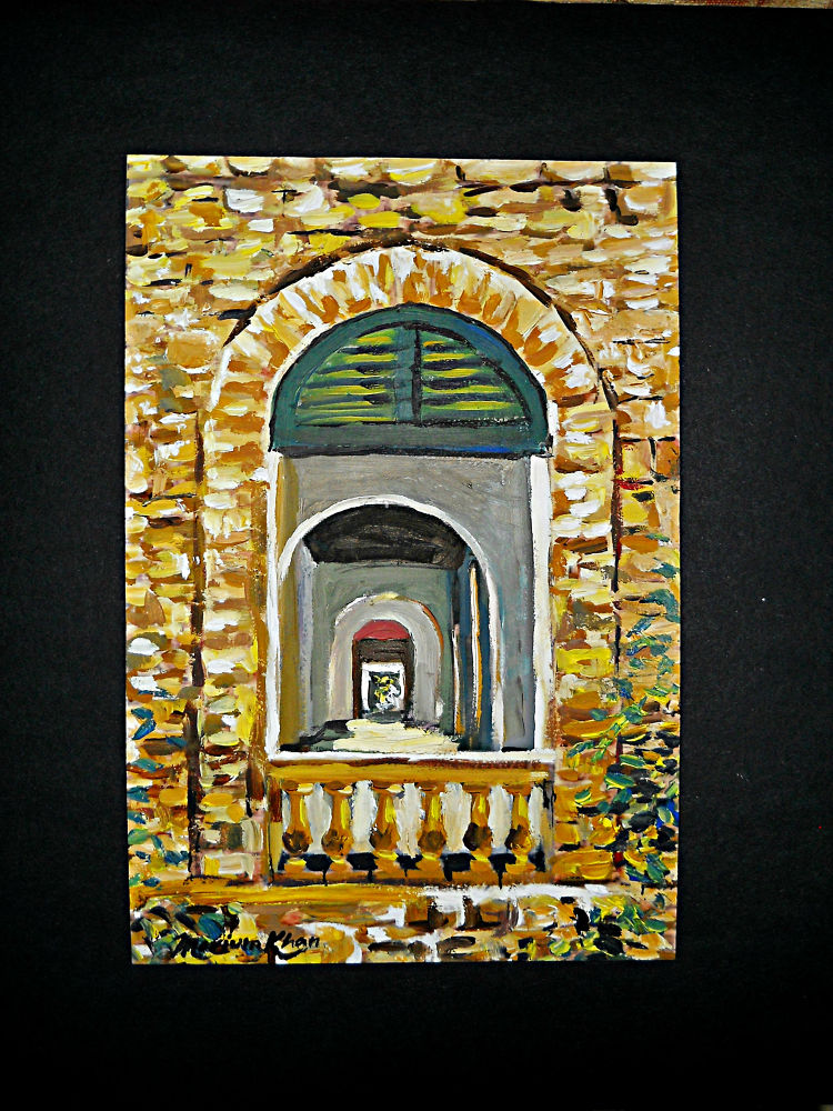 Corridor.                 oil on paper by khan333marium