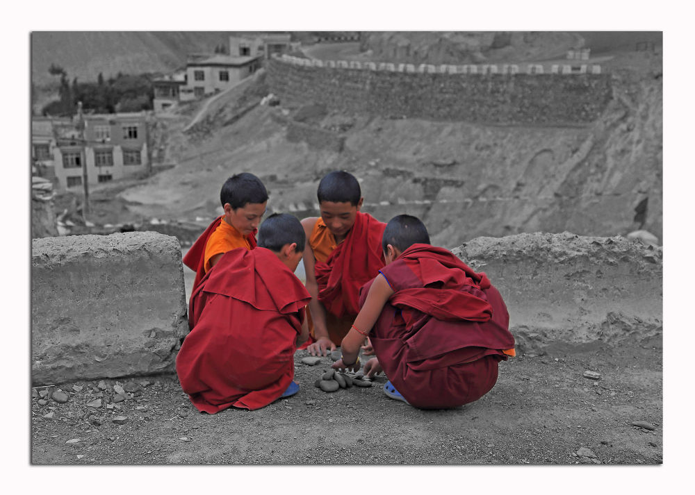 Future monks at work.... by amit dave