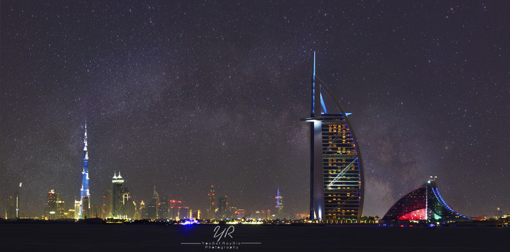 Photo in Random #dubai #burj al arab #uae #burj #night #colors #palm #island #ypa2014