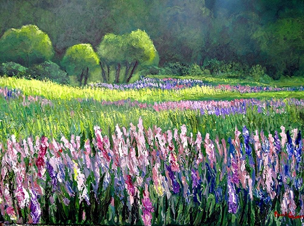 674051  LUPINES AT SUNSET PAINTED BY PAUL CRIMI. by paulcrimi178