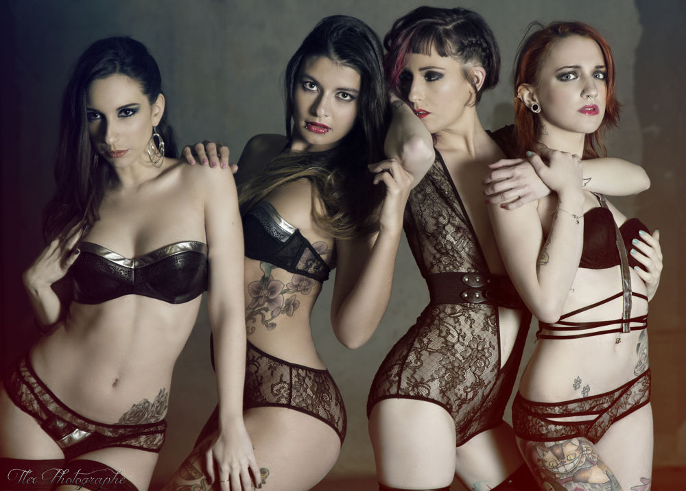 Photo in Random #portrait #sexy #lingerie #underwear #4 #girls #tattoo #underground #light #ypa2014