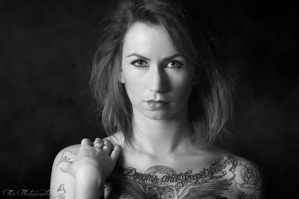 Photo in Portrait #ypa2014 #portrait #model #tattoo #black and white #noir et blanc #light #smoke