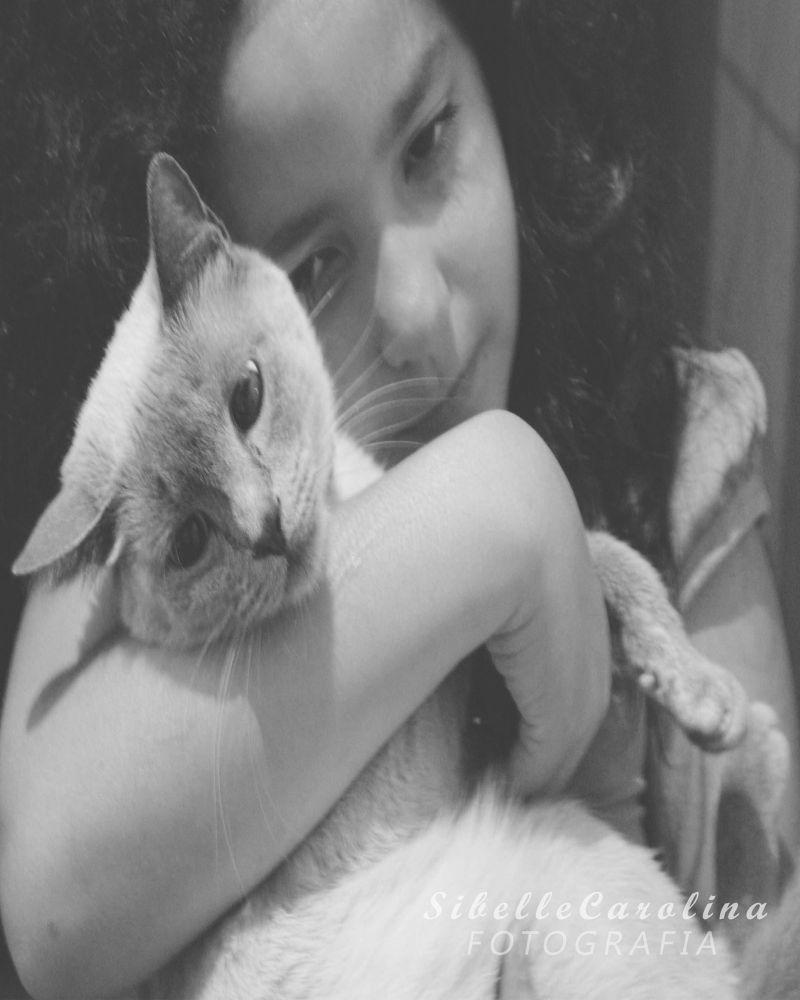 Photo in Black and White #carinho #preto e branco #acaso #animal #amor #criança