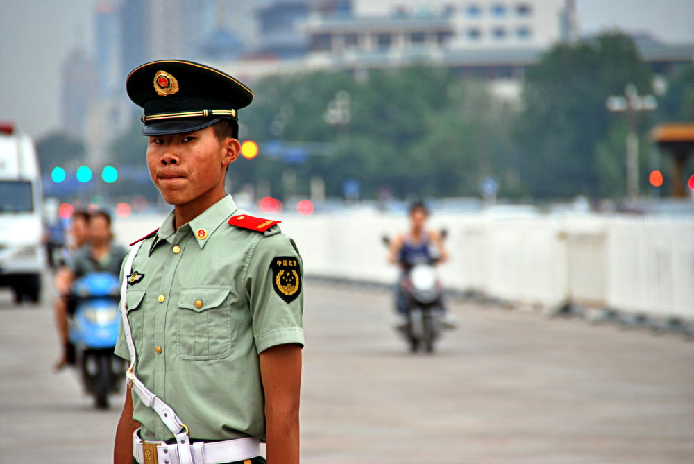 Young Soldier on duty, Tiananmen Square (Beijing) by jamesrkirkham