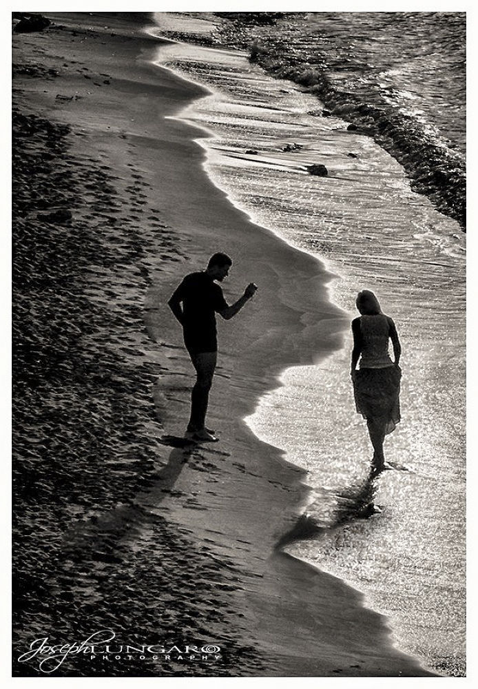 Photo in Black and White #beaches #lovers #sand #sea #shades #sun #photography #sunsets