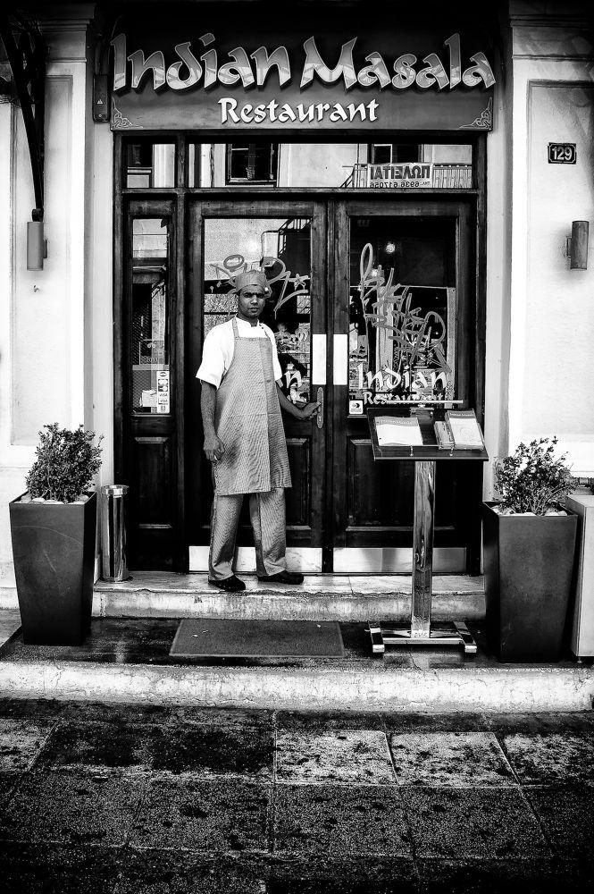 Photo in Street Photography #mono #monochrome #b&w photography #portrait #street photography #street hunters #candid #candid portrait #candid photography #athens #attiki #greece #indian #restaurant #street portrait #20mm #sel20f28 #sony nex #nex-6