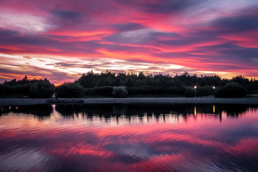 Purple Sunset in Sunderby by Stefan Brenner