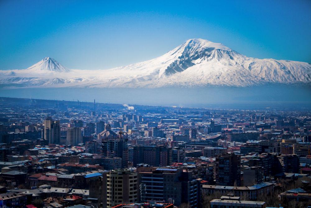 Photo in Landscape #yerevan #armenia #mountain #ararat #city #snow #winter #clear