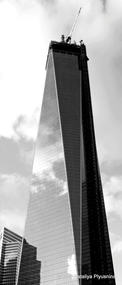 Photo in Architecture #new york #city #ny #nyc #manhattan #building #tower #skyscraper #architecture #construction #glass #mirror #sky #clouds #black and white #b&w #twin tower #world trade center #9/11 #09/11/2001 #september 9 2011 #memorial #high #memory #tragedy #design