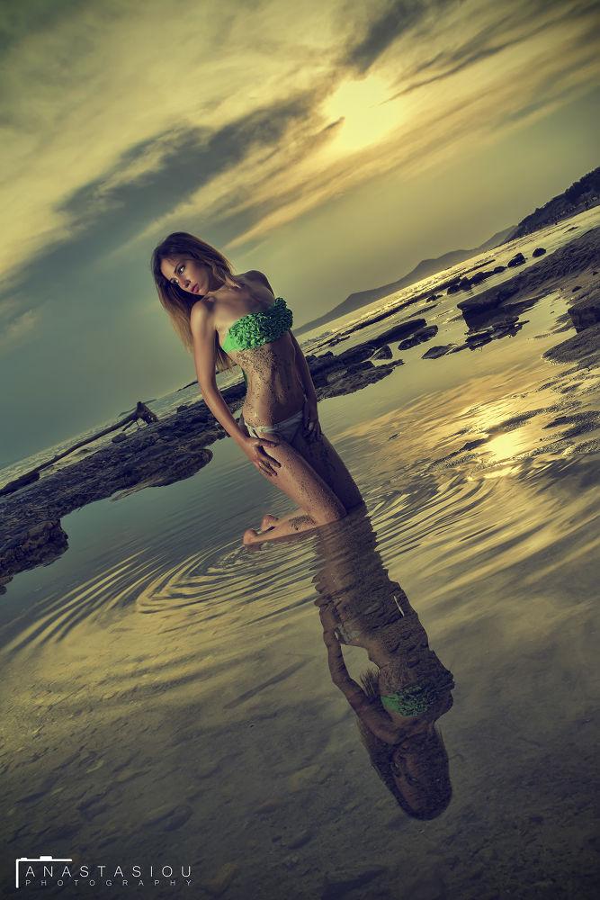 Photo in Portrait #sea girl bikini reflection #beach sky summer art woman ana