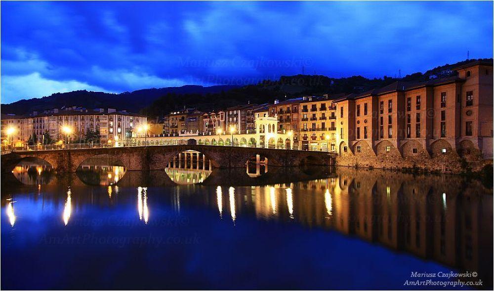 Photo in Architecture #tolosa #basque #water #reflection #river #bridge #light #night #spain