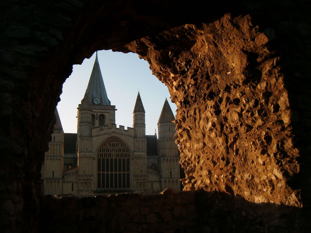 Rochester Cathedral through the hole in the castle wall, sunny september morning 2013 by didibergman3