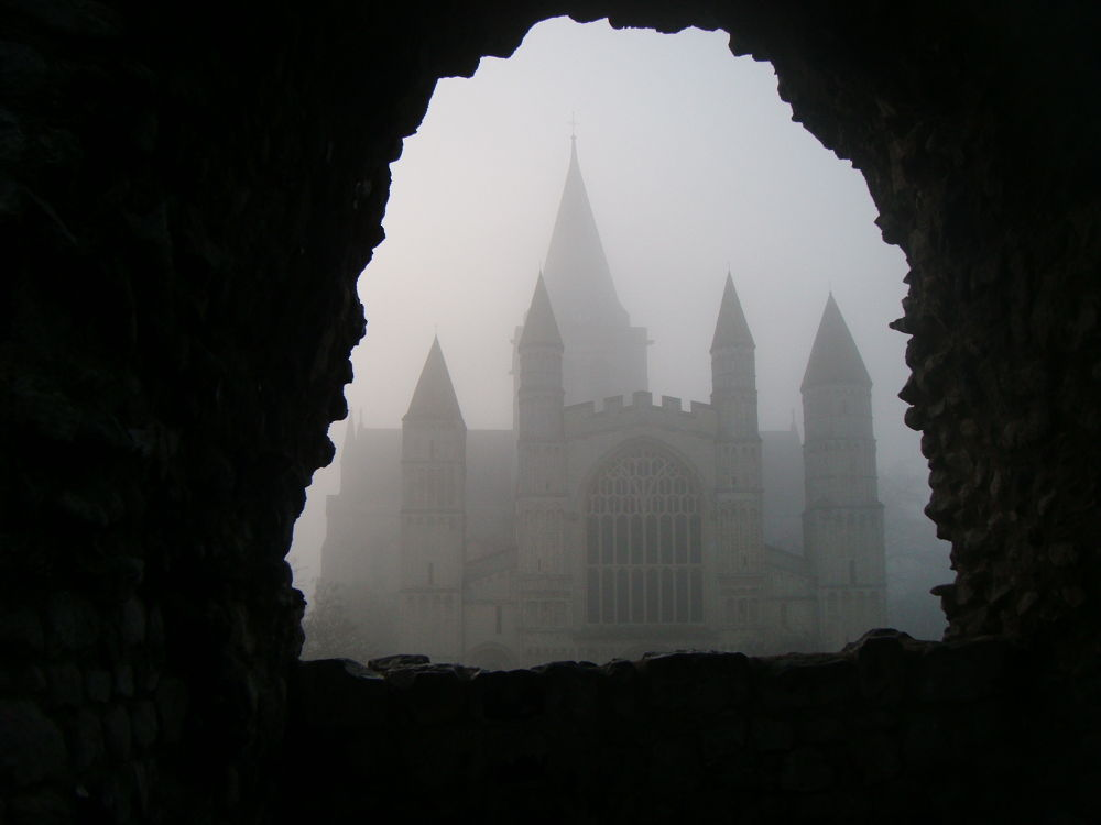 Rochester Cathedral in the mist March 2014 by didibergman3