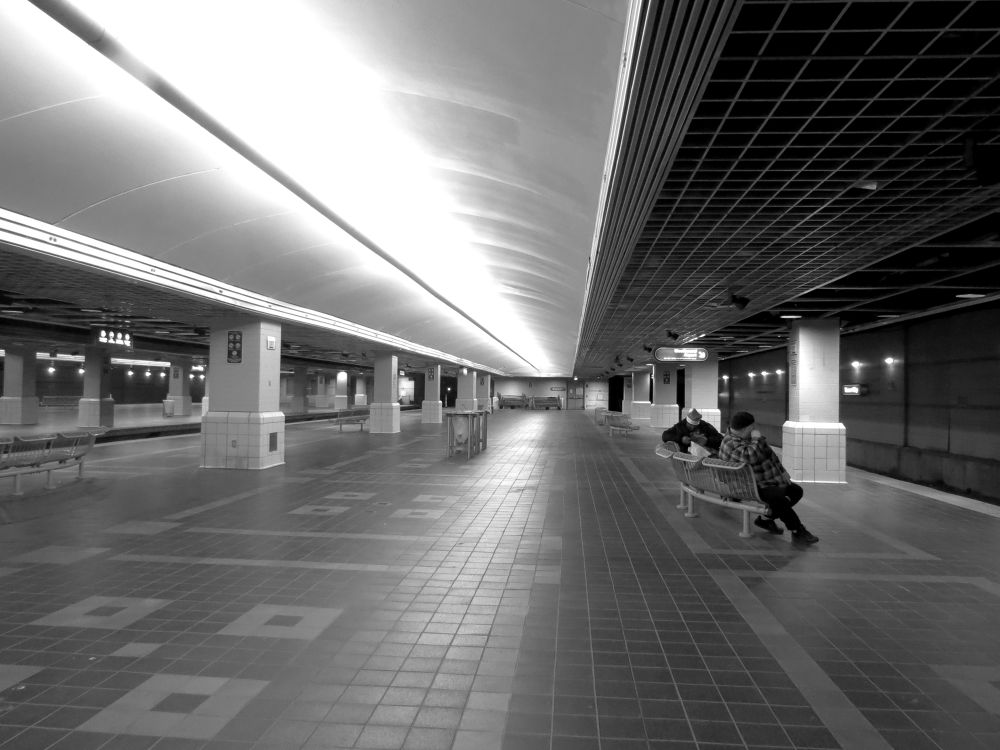Photo in Black and White #black and white #cleveland oh #tower city #rapid transit station