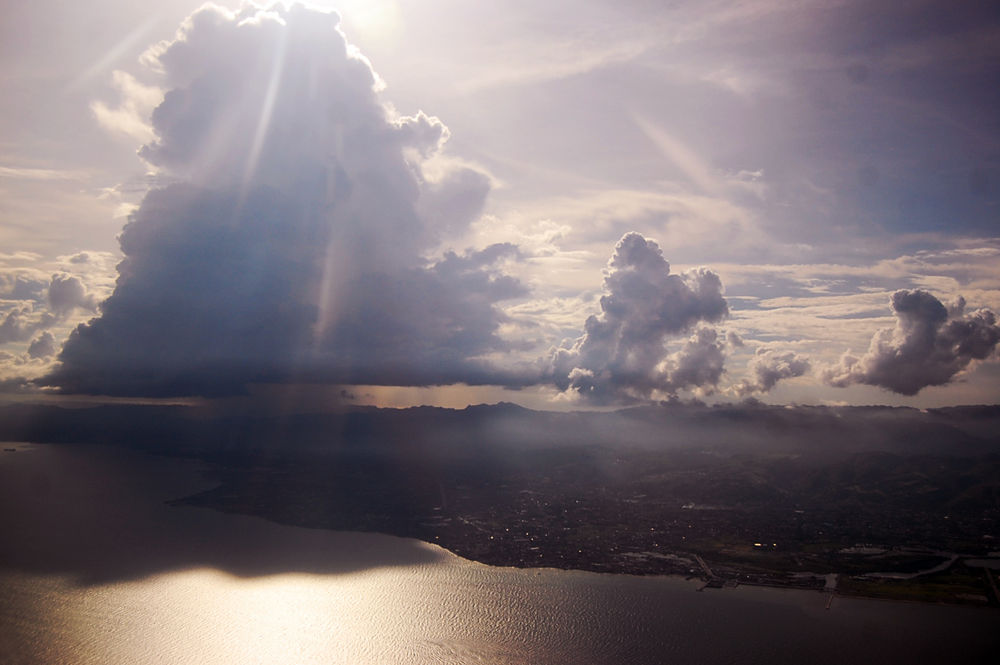 Photo in Random #aerial #sky #clouds #fluffy #cloud #sunset #ocean #land