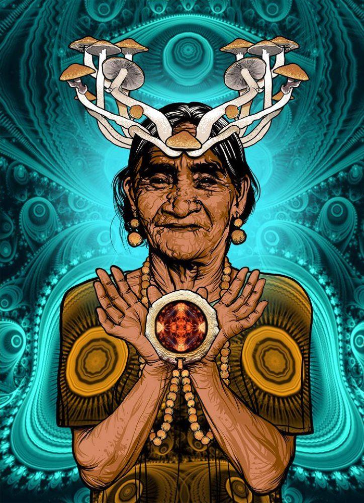MARIA SABINA : Magic Old Woman_ Digital  Illustration by J Carlos Mar y Gozo