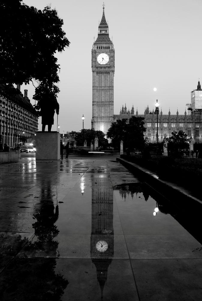 Photo in Black and White #black #white #london #bigben #mirror #rain