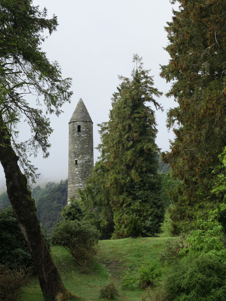 Traditional Ireland, misty, cool, green.  Wicklow Monastery.  by #LuvToTravelWorld