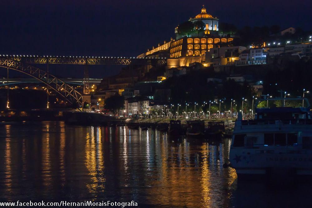 Night, Docks of Gaia and Mount Virgin, Portugal by hernanimorais5