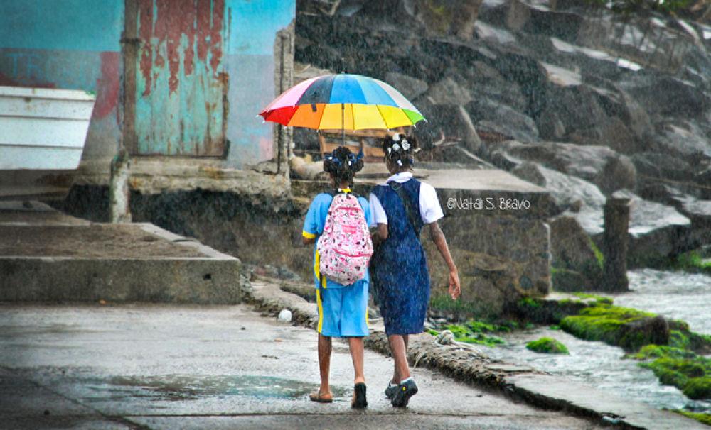 Sisters walking in the rain by Natali S. Bravo