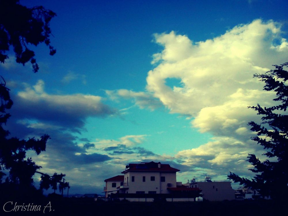 Photo in Random #house #clouds #trees #afternoon #light #blue #sky