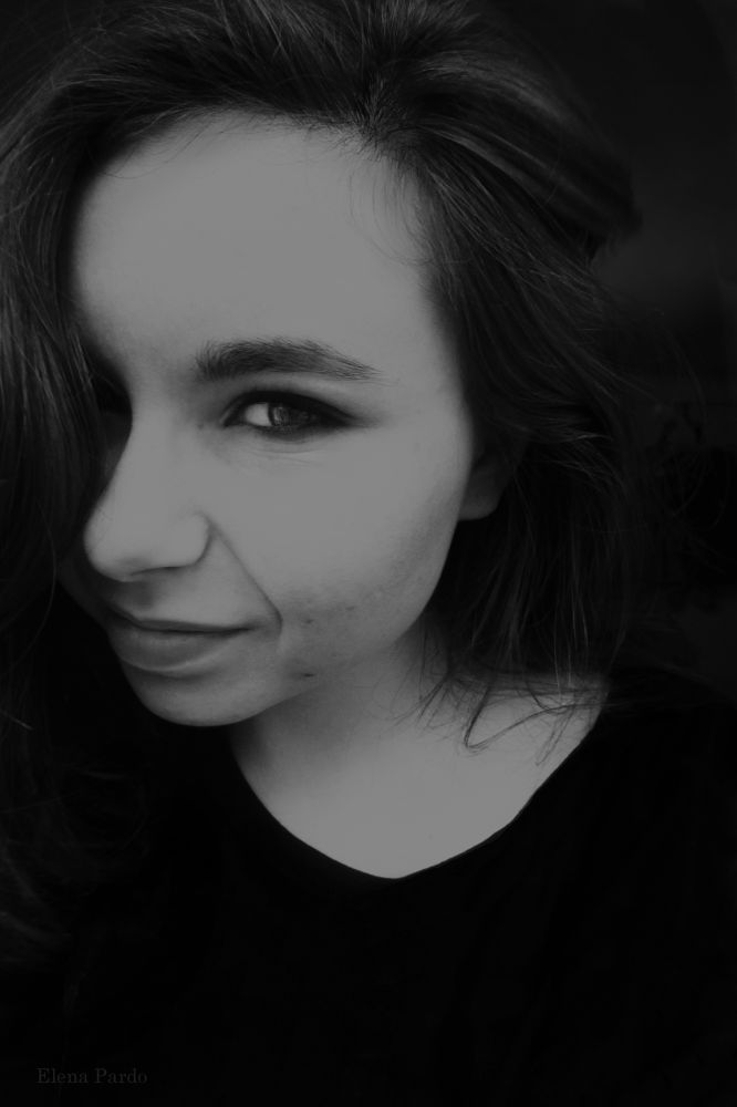 Photo in Black and White #self #self-portrait #portrait #people #people and portrait #elena pardo #girl #smiling #expressive #365 #365 days #365 days project #b&w #black and white