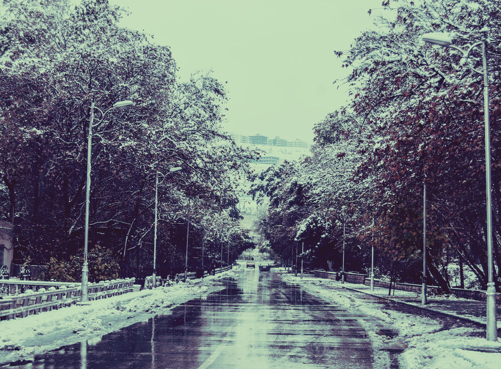 Paved with snow ..  by Ayham Ktait