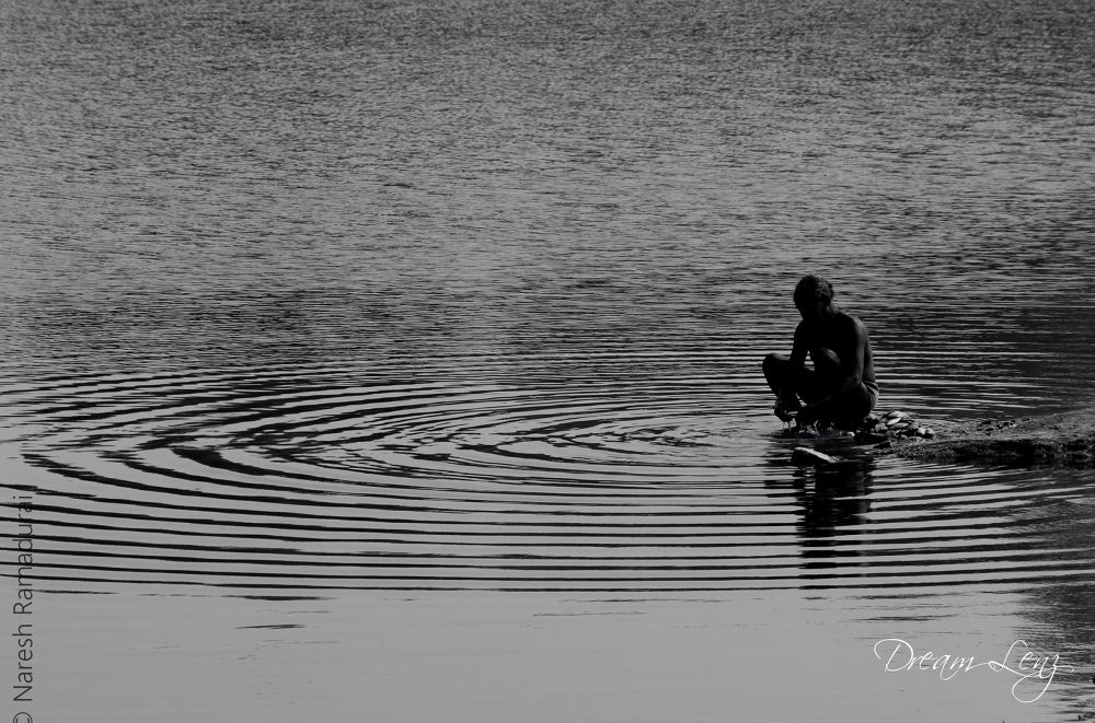 Photo in Random #serenity #lake #black & white #b&w #naresh ramadurai #dream lenz #dreamlenz #fishing
