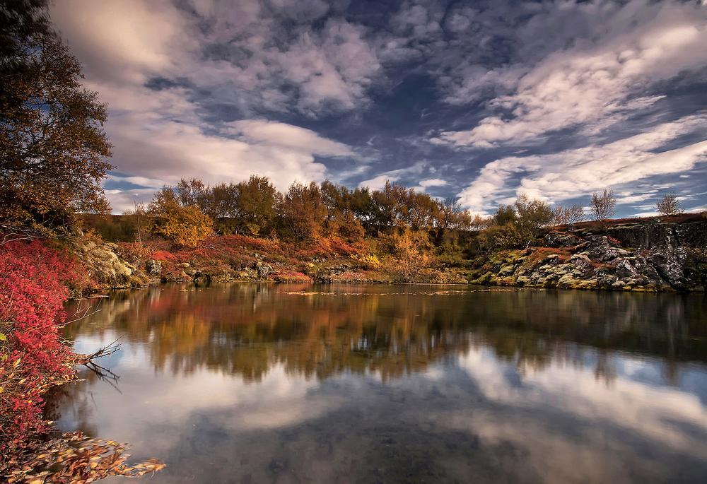 Photo in Landscape #landscape #nature #sky #clouds #reflection #autumn #iceland #structor