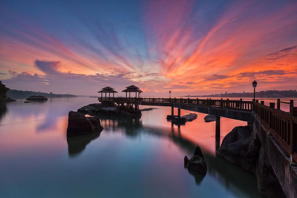 Photo in Landscape #morning #reflection #skyline #sunrise #bridge #stones #clouds #seascape #waterscape #island #singapore