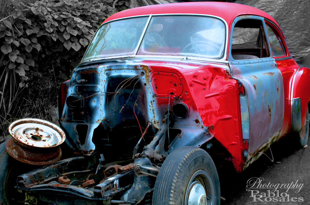 Photo in Street Photography #classic #automobile #vehicle #red #body work #frame #blue #vintage