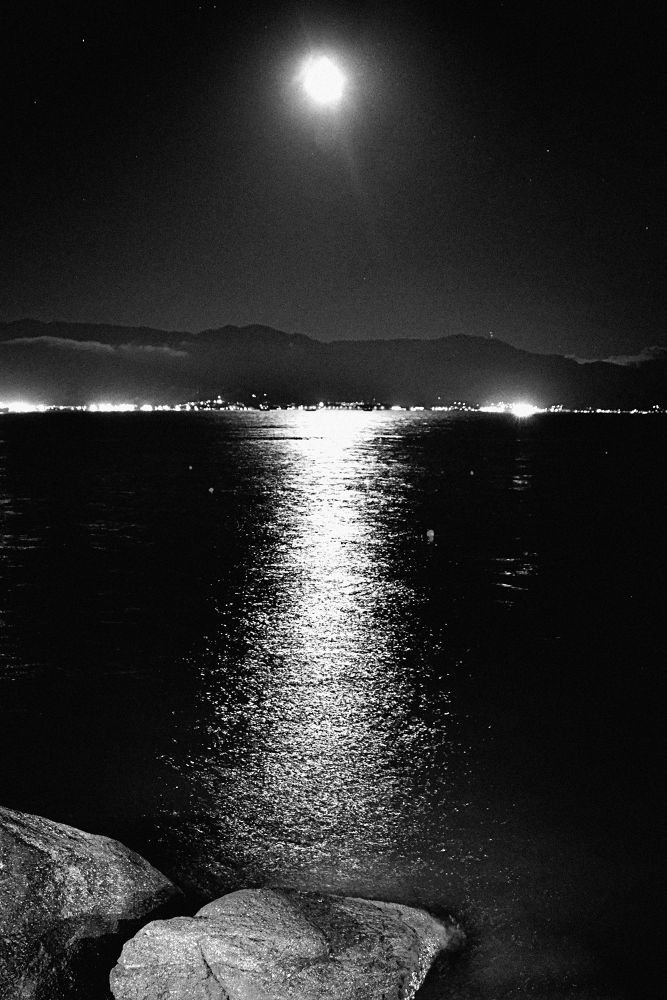 Photo in Black and White #ilhabela #brazil #black and white #moon