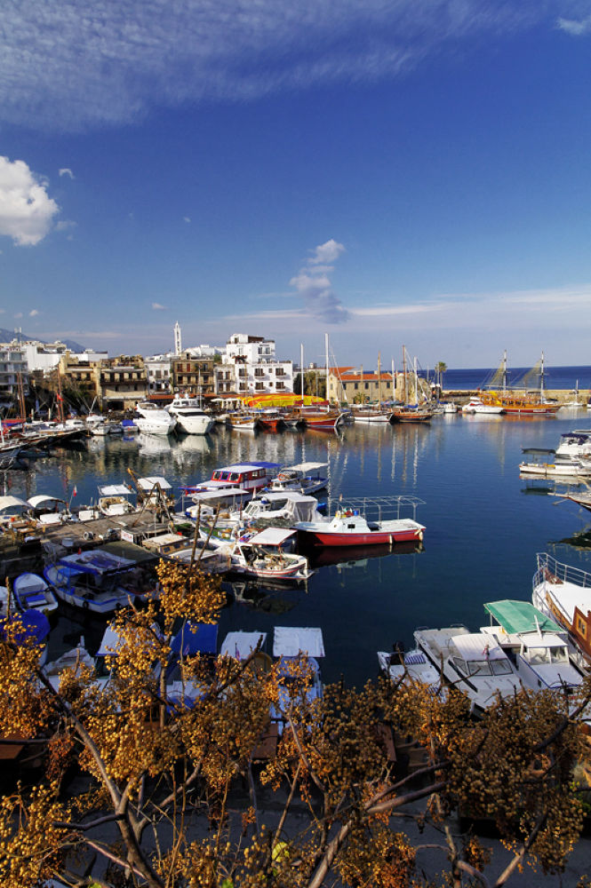 Photo in Landscape #kyrenia #harbour #sky #boats #tree #sea #reflection #church #clouds
