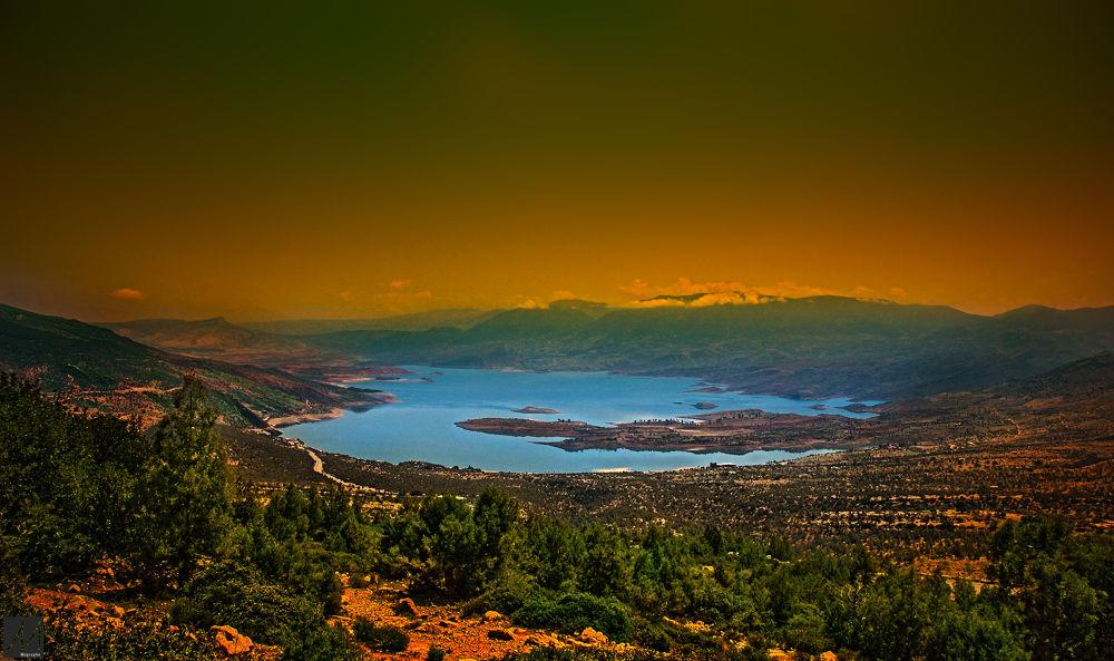 Photo in Landscape #africa #morocco #beni mellal #barage #barage bine louidane #water #nature #landscape #coucher de soleil #sun #rivier #lac #photography #nikon #random #sunset #paysage