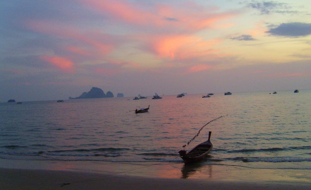 Photo in Sea and Sand #krabi #thailand #beach #sea #sunset