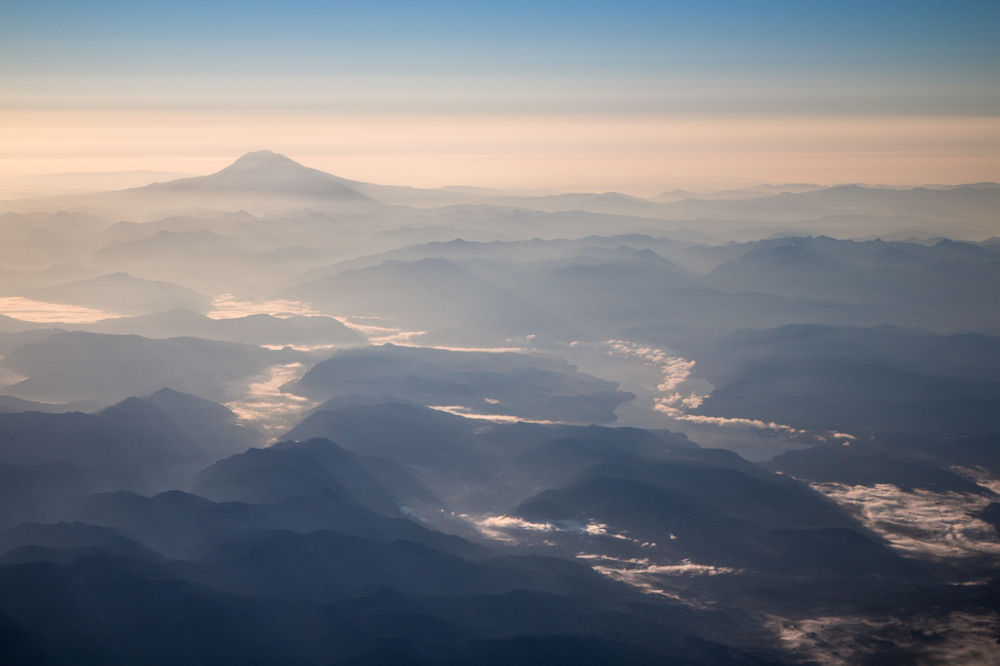 Photo in Landscape #landscape #aerial #pacific northwest #mount adams #cascade mountains #mountain #blue #morning #clouds #haze #shadows #washington