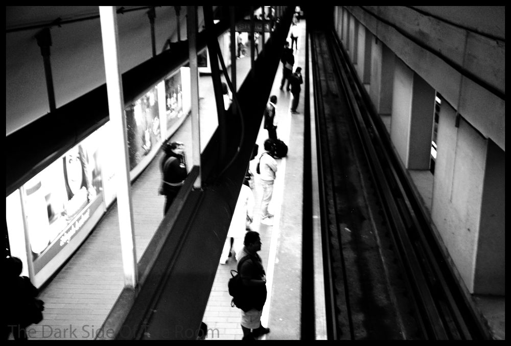 Photo in Black and White #black and white #metro #urban #lines #city #mexico #d.f. #contrast #subway #railway #blanco y negro #noir blanc #street