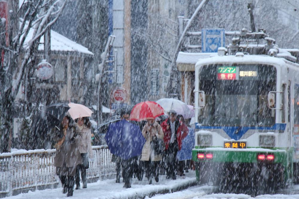 Train and Colorful Umbrellas Under Snow by Takeo T.