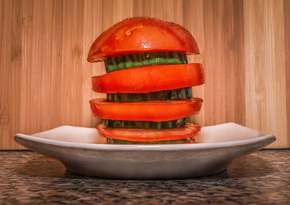 Photo in Food #health #tomatos #splash #fresh #cucumber #delicious #food #burger #red #green #wood
