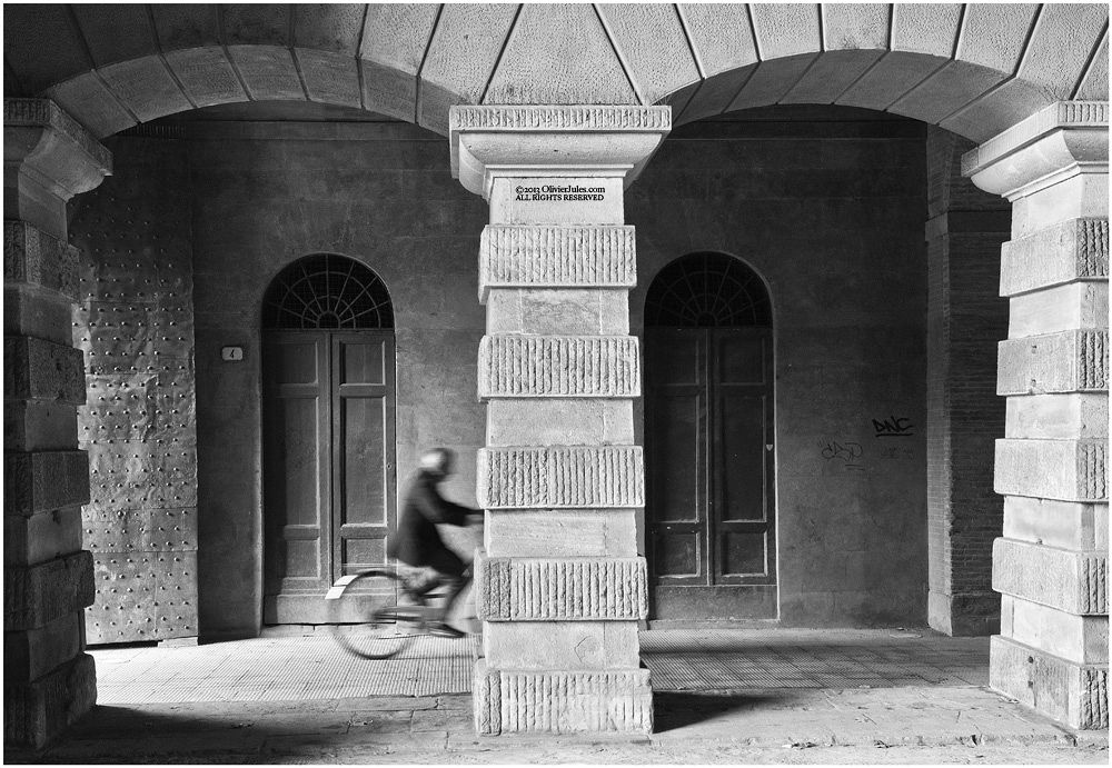 Photo in Random #lucca #italy #bicycle #bici #black #white #man #street