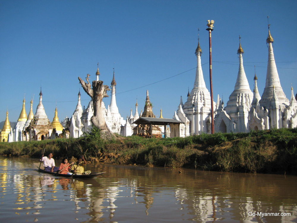 Stupas on Inle Lake, Shan State by Go-Myanmar.com
