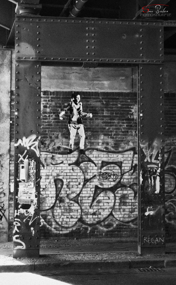 Photo in Random #fineart #fine #art #berlin #germany #deutschland #canon #eos #70d #600d #sina #graffiti #dance #jacket #dancing #kunst #paint #bridge #old #train #trip #love