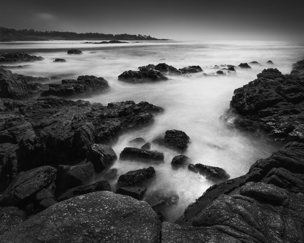 Photo in Black and White #bw #black and white #black #white #ocean #rock #water #wave #dark #coast #california #high way one