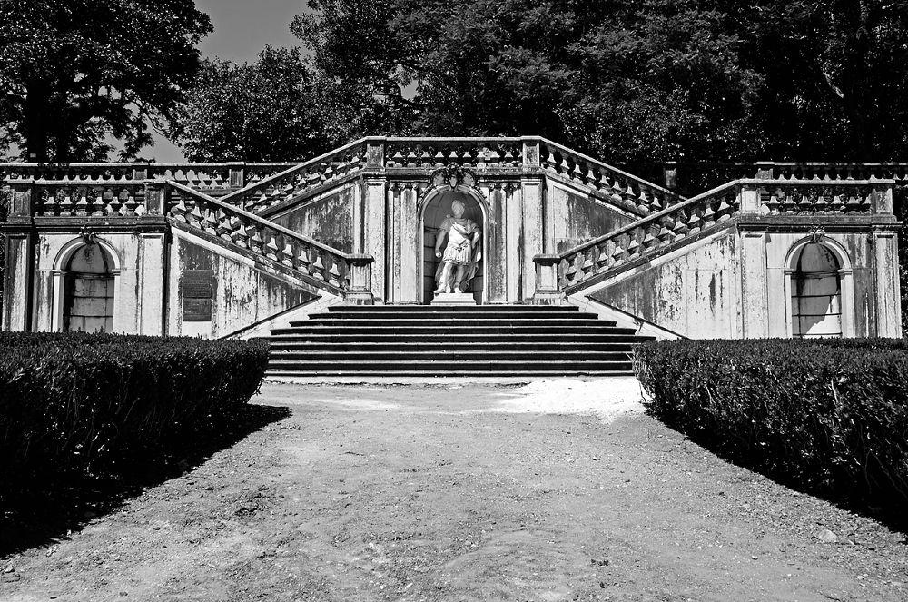 Photo in Architecture #garden #stairs #jardim botanico da ajuda #lisbon #belem #black and white