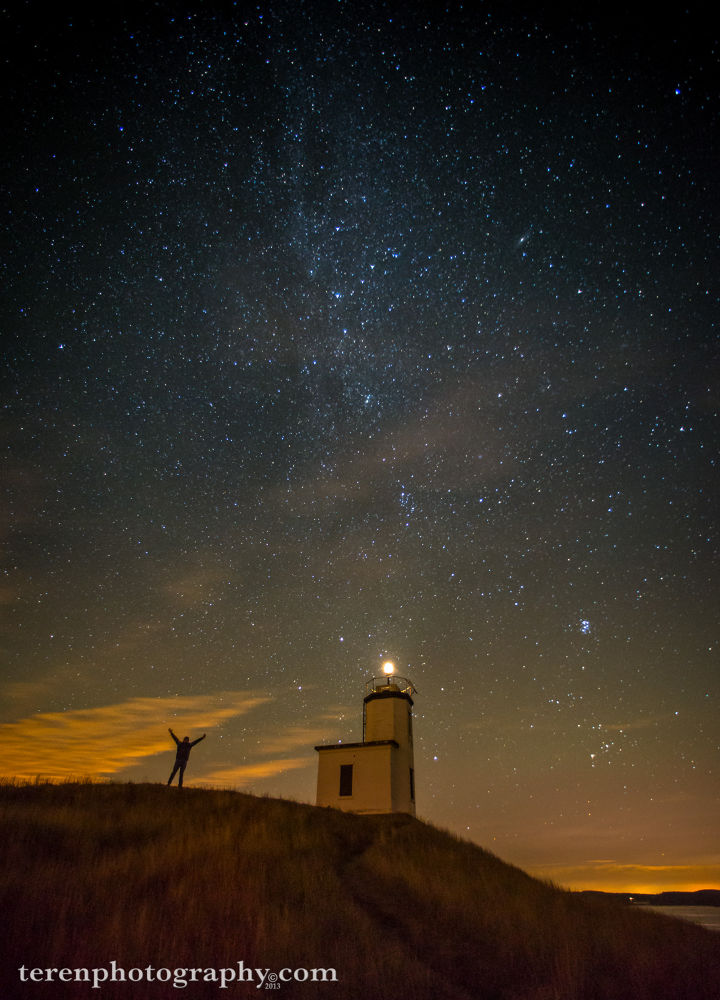 Selfie Under Milky Way at the Cattle Point Lighthouse - San Juan Island by Teren Photography