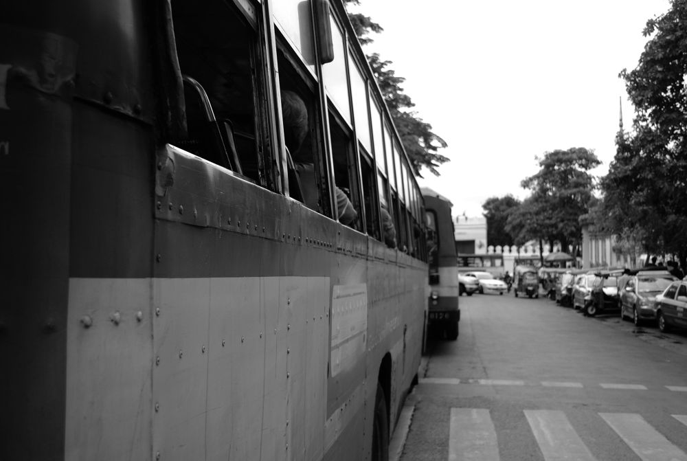 Black and White Bus by PhotoDjo